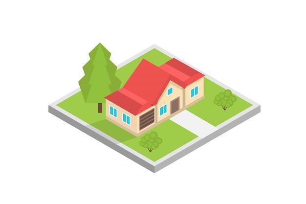 Casa en un concepto isométrico de mapa. ilustración