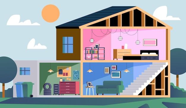 Casa en concepto de sección transversal