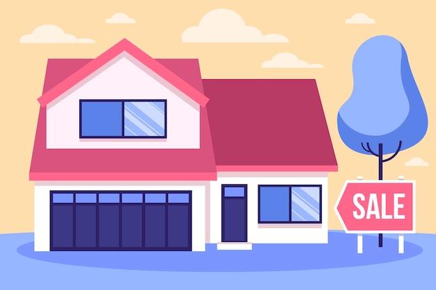 Casa en concepto de venta con cartel.