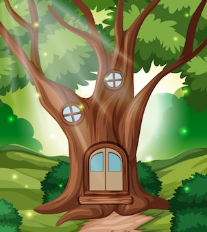 Casa de cuento de hadas del bosque.