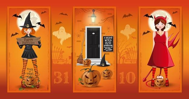 Casa decorada de halloween y dos chicas lindas: vestidas de bruja y diablo. una bruja malvada vive aquí con un apuesto diablo. ilustración vectorial