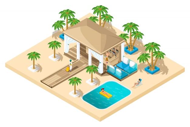 Casa de descanso, una niña con una maleta del avión va a la recepción, descanso lujoso, palmeras, piscina, arena