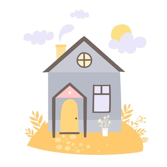 Casa dibujada a mano en el prado