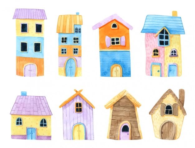 Casa de dibujos animados de acuarela