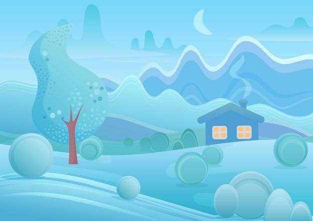 Casa de dibujos animados de invierno con humo de chimenea en el paisaje de montañas de fantasía.