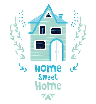 Casa de dibujos animados lindo o casa, letras, tarjeta