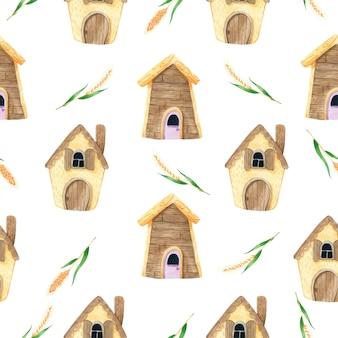 Casa de dibujos animados lindo con patrón de spike seamless en acuarela