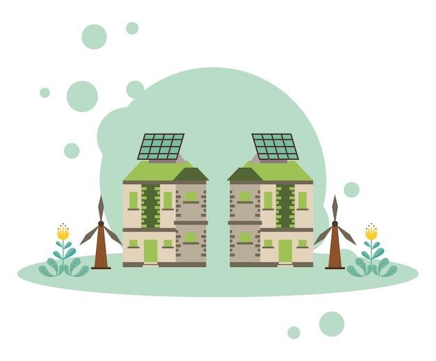 Casa con diseño de ilustración de vector de energía alternativa solar de panel