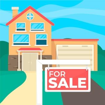 Casa de diseño plano en banner de venta