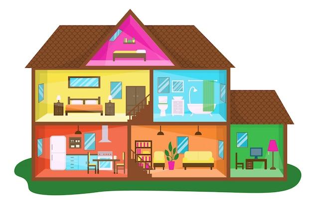 Casa de diseño plano en la ilustración de la sección transversal