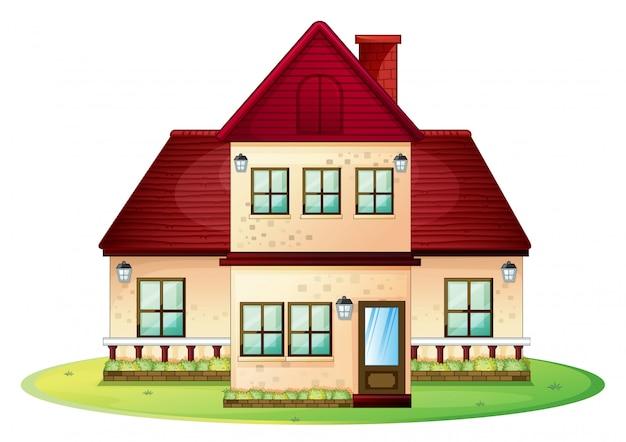 Casa de dos pisos con techo rojo.
