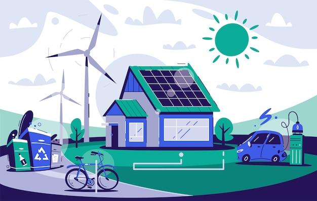 Casa ecológica. energía renovable. arquitectura ecológica. la vida del pueblo. calentamiento global, cero residuos y concepto de greenpeace