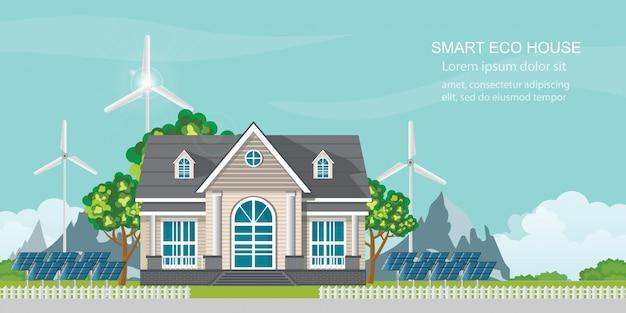 Casa ecológica inteligente con panel solar y energía eólica.