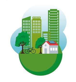 Casa y edificio con energía solar y bicicleta.