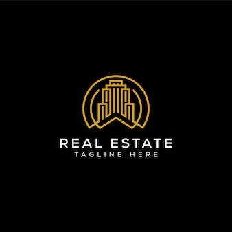 Casa de edificio minimalista moderno simple para el diseño de logotipos de empresas inmobiliarias en fondo negro