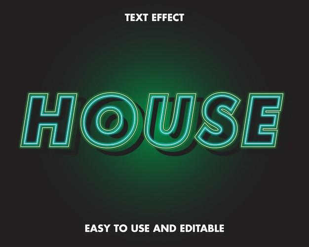 Casa efecto de texto de neón estilo moderno.