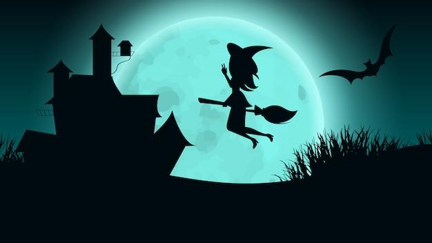 Casa embrujada de brujas de halloween. ilustración plana