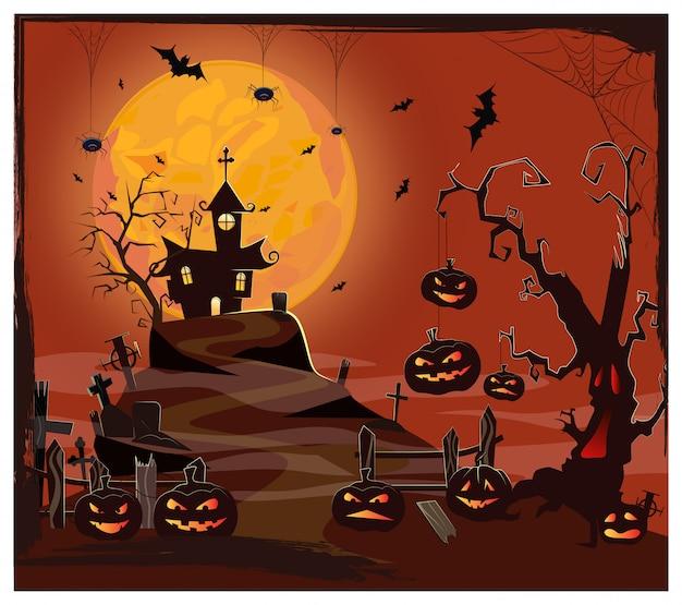 Casa embrujada contra la luna, cementerio y calabazas.