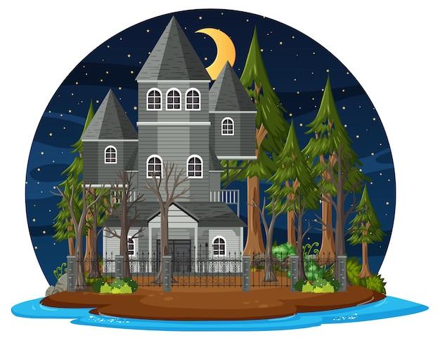 Casa embrujada en la escena nocturna.