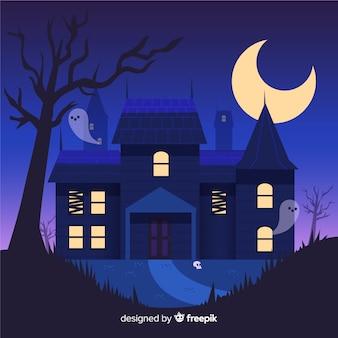Casa embrujada de halloween dibujada a mano por fantasmas