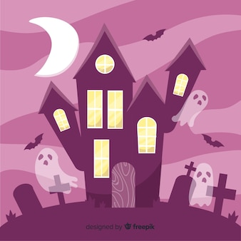 Casa embrujada de halloween dibujada a mano