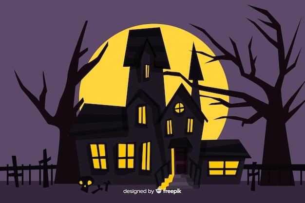 Casa embrujada de halloween de dibujos animados de miedo