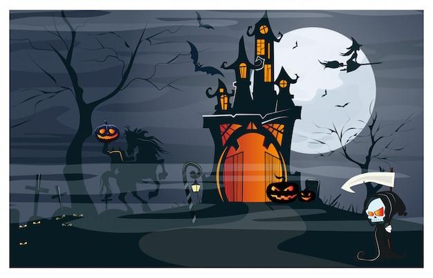 Casa embrujada, jinete sin cabeza, calabazas en la noche de luna