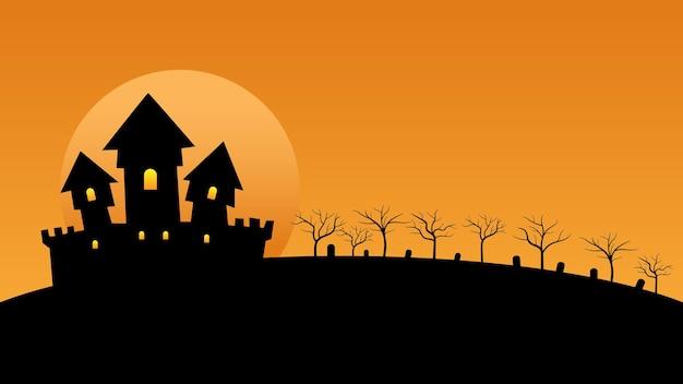 Casa embrujada con luna llena y árboles en las colinas con espacio de copia para la decoración de fondo de halloween