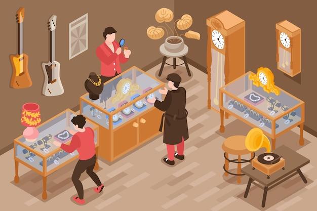 Casa de empeño isométrica con visitantes y experto en joyería.
