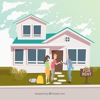 Casa en alquiler con diseño plano