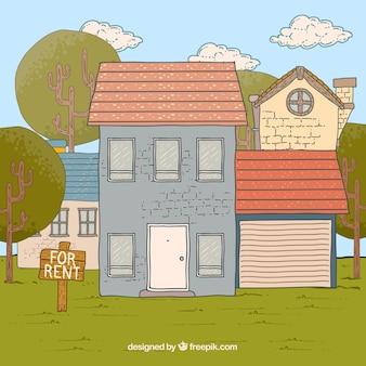Casa en alquiler dibujada a mano