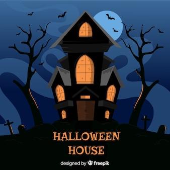 Casa encantada de halloween espeluznante dibujada a mano