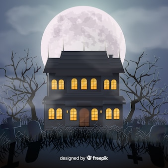 Casa encantada de halloween con diseño realista