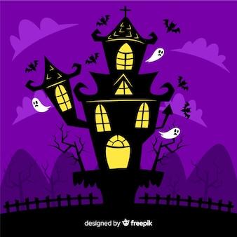 Casa encantada de halloween plana por fantasmas