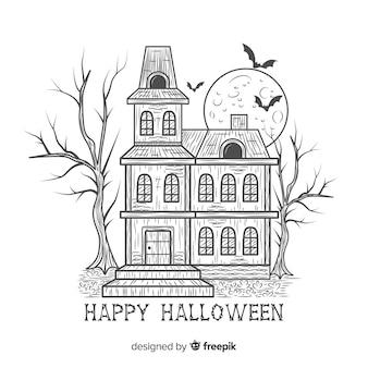 Casa encantada de halloween terrorífica dibujada a mano