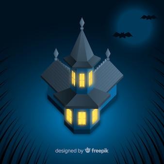 Casa encantada de halloween terrorífica con diseño realista