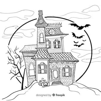 Casa encantada terrorífica dibujada a mano