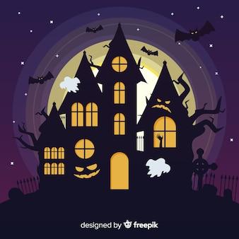 Casa encantada terrorífica con diseño plano