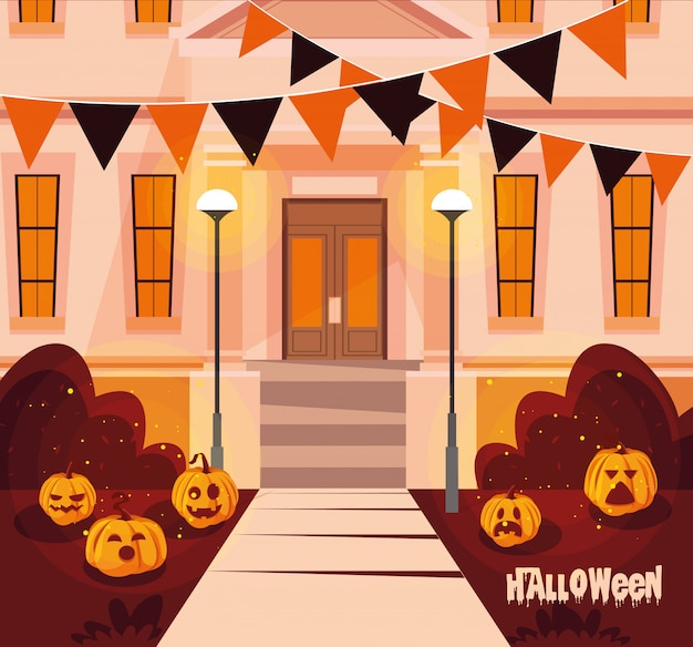 Casa de fachada de halloween con decoración