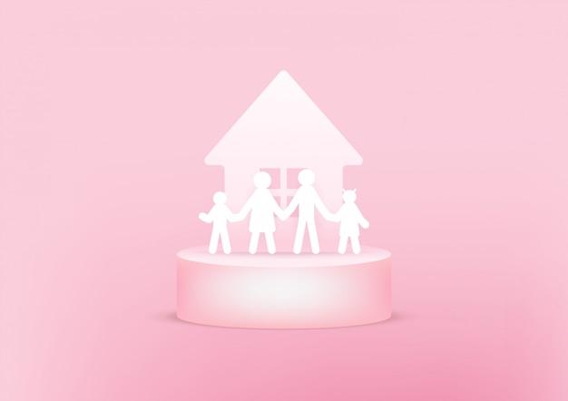 Casa y familia de papel 3d. concepto de familia feliz