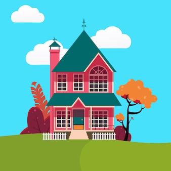 Casa familiar con arboles