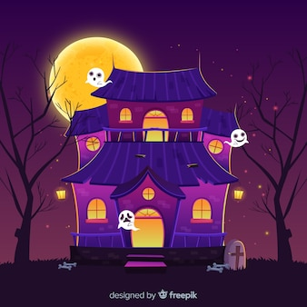 Casa y fantasmas dibujos animados casa de halloween