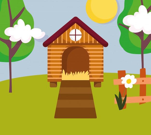 Casa gallina valla flor y árboles granja ilustración de dibujos animados