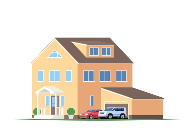 Casa con garaje y coches, todoterreno y deportivo.