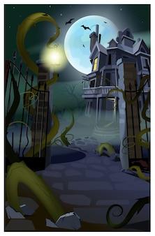 Casa gótica oscura con ilustración de murciélagos volando