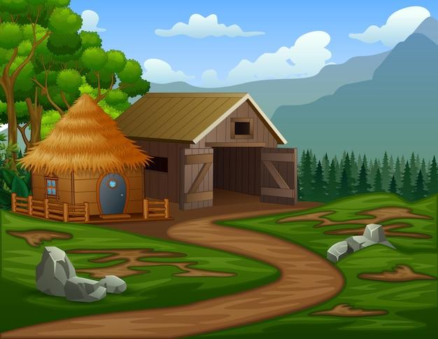 Casa de granero de dibujos animados con una cabaña en las tierras de cultivo