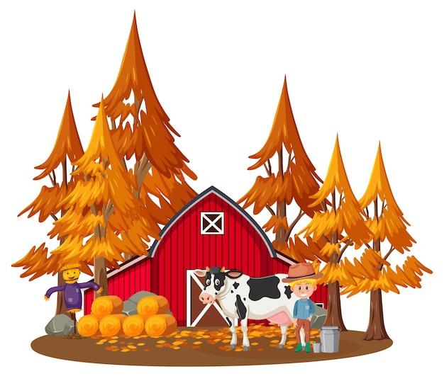 Casa de granjero con granjero y animales de granja.