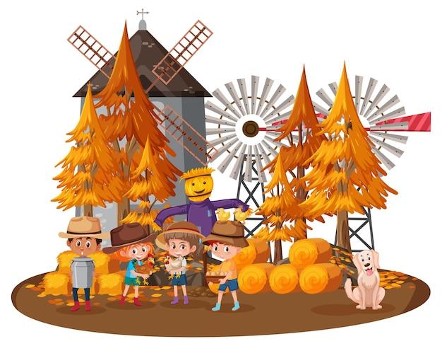 Casa de granjero con niños