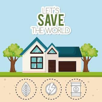 Casa con guardar los iconos del mundo