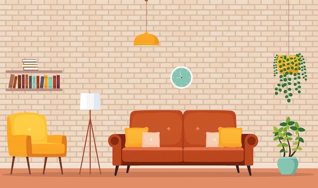 Casa habitación interior con sofá, sillón, estanterías, lámpara de iluminación, macetas con plantas.